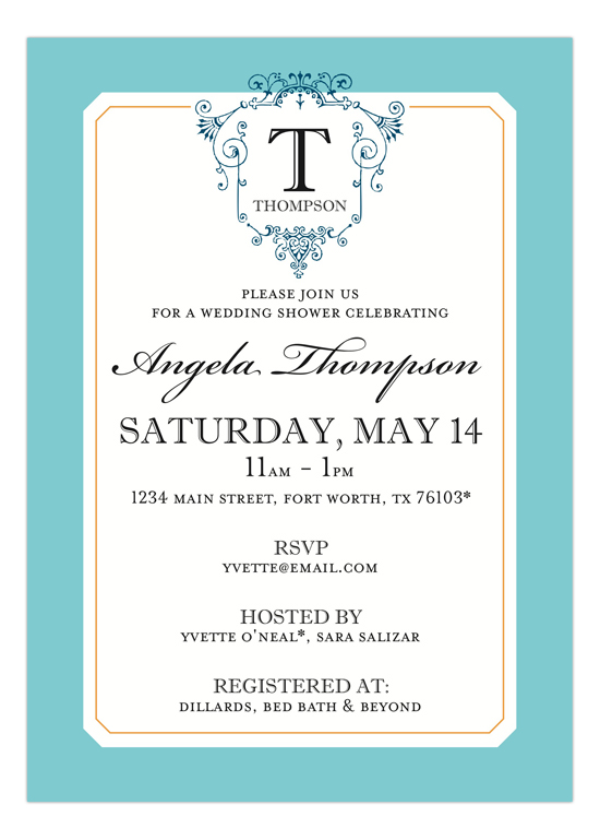 Ornate Monogram Blue Invitation
