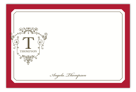 Ornate Monogram Red Flat Note Card