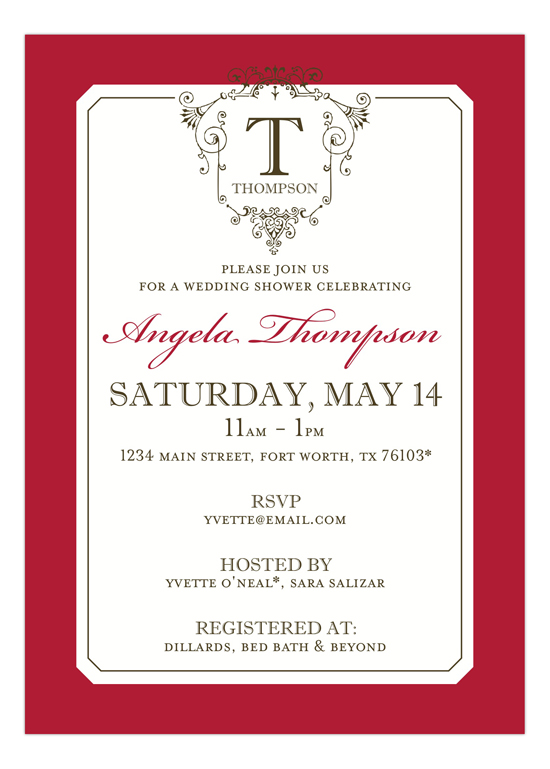 Ornate Monogram Red Invitation