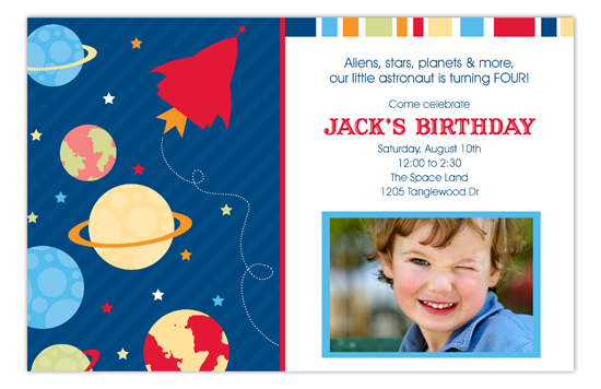 Outer Space Party Card