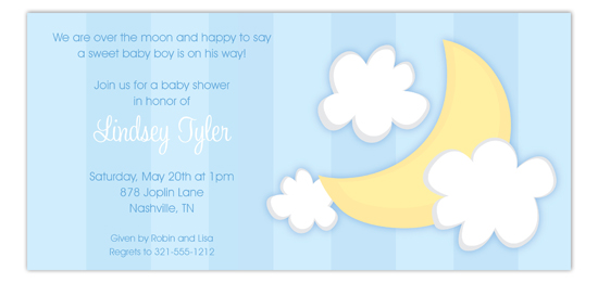 Over the Moon Blue Invitation