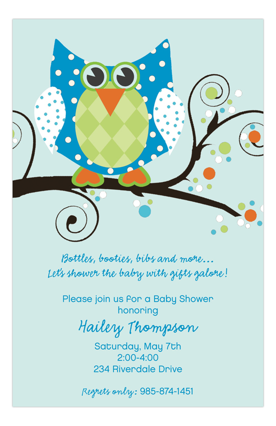 Tree Owl Blue Baby Boy Invitation