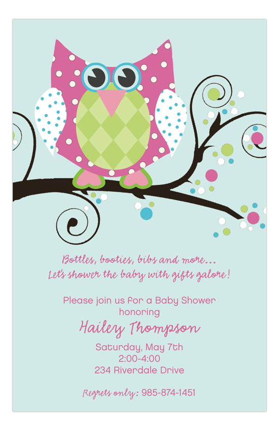Owl Pink Girl Baby Shower Invitation