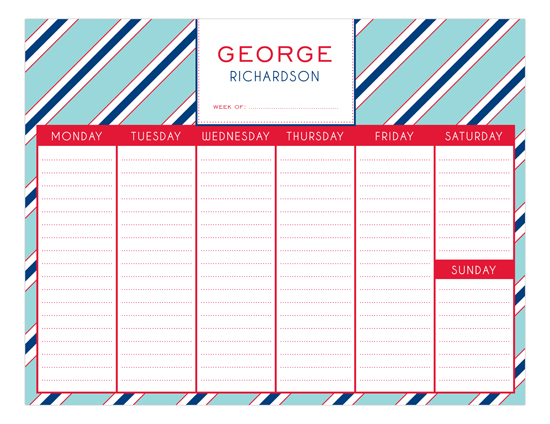 Oxford Stripes Calendar Pad