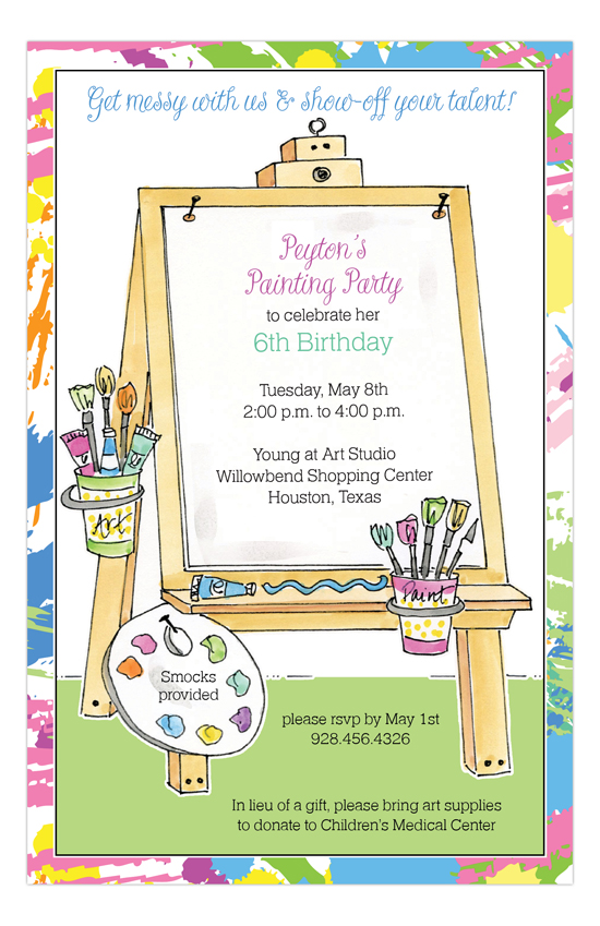 art asel painting party invitations polkadotdesign com