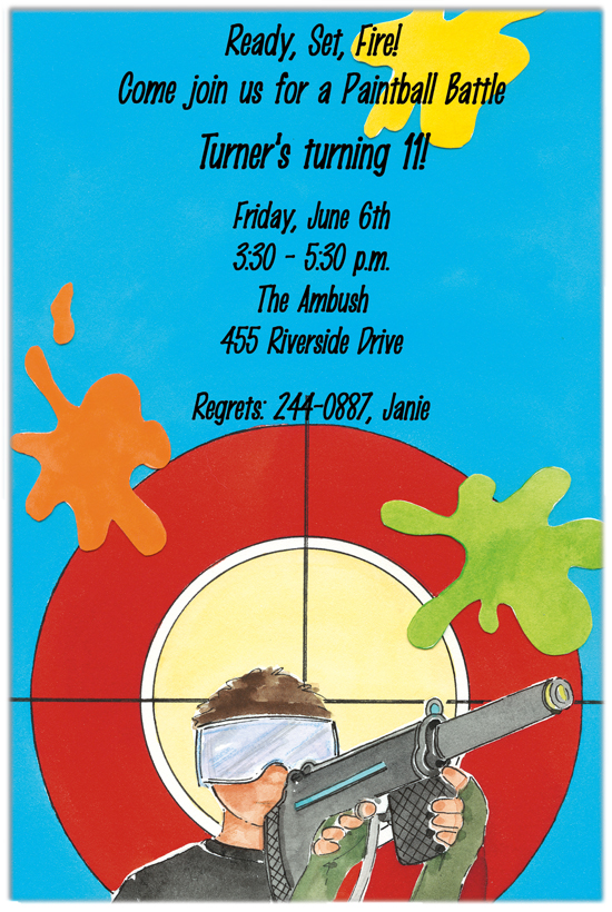picture perfect paintball on target birthday party invitation, Party invitations
