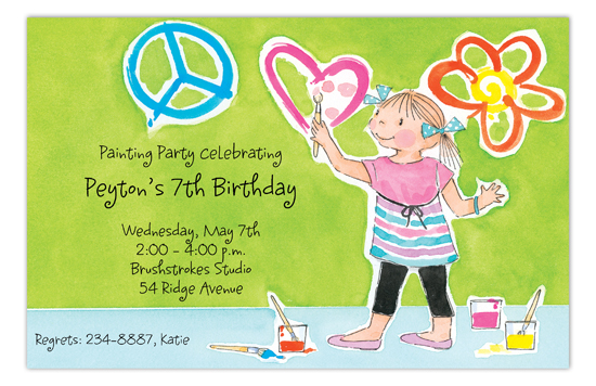 Painting Party Girl Invitation