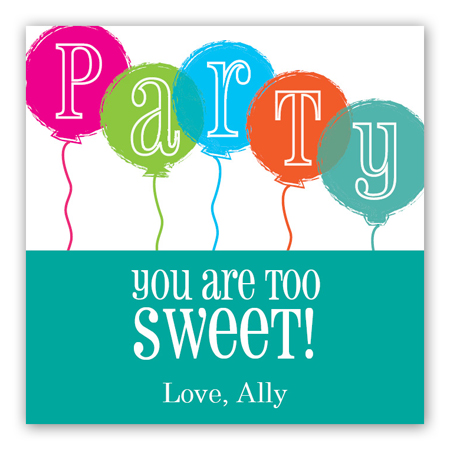 Party Balloons Gift Tag