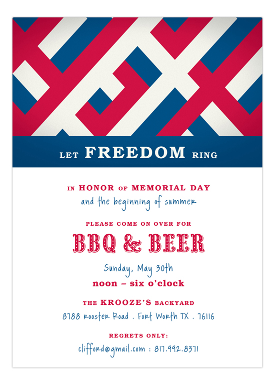 Patriotic Criss Cross Fourth of July Invitations