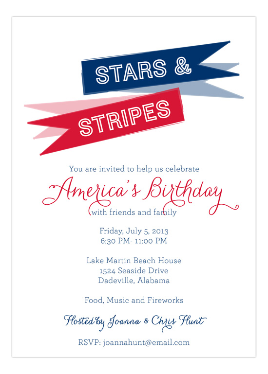 Patriotic Pennant Invitation