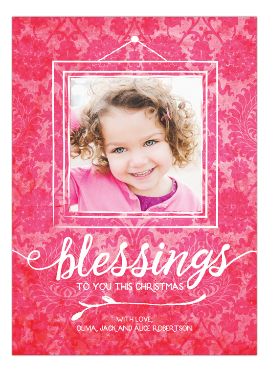Christmas Damask Holiday Photo Card