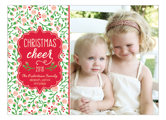 Floral Christmas Cheer Photo Card
