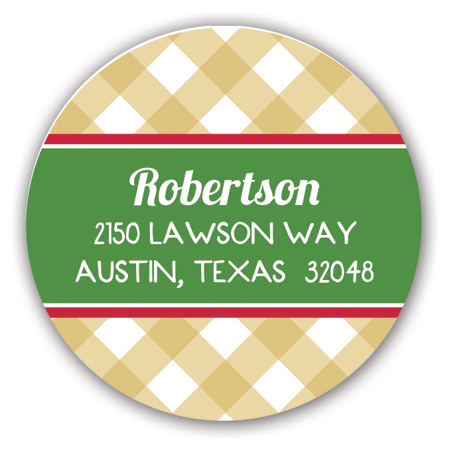 Gold Gingham Collage Holiday Label