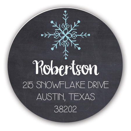 Happy Holidays Snowflakes Holiday Label