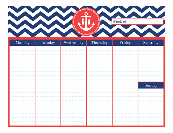 Preppy Anchor Calendar Pad