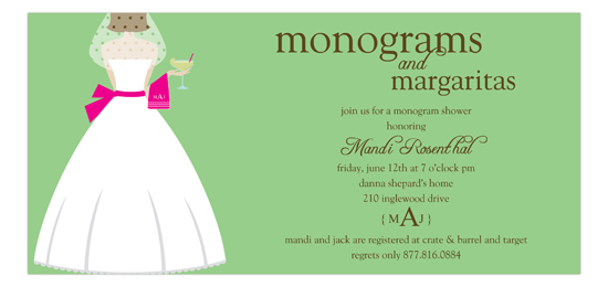 Monograms and Margaritas Brunette Bridal Shower Invitation