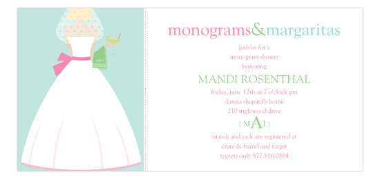 Monograms and Margaritas Blonde Bridal Shower Invitation