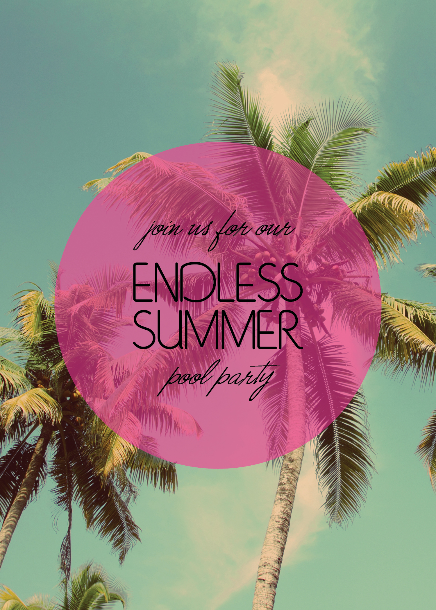 Endless Summer Pool Party Invitation | Summer Party Invites