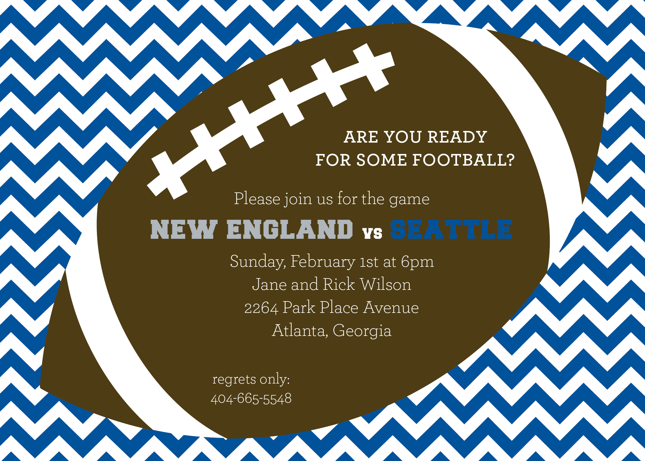 blue chevron tailgate football party invitation