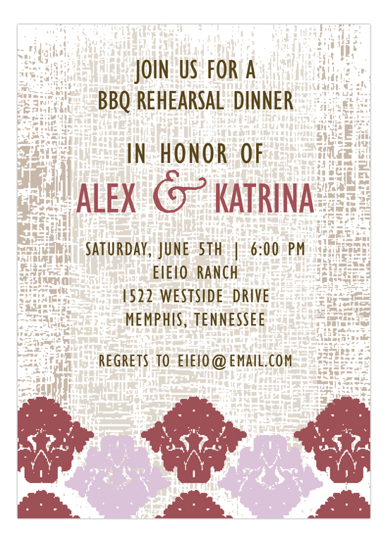 Marsala Burlap and Damask Party Invitation