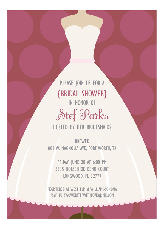 Marsala Polka Dot and White Dress Bridal Shower Invitation