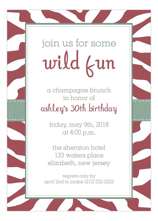 Marsala Zebra and Sage Ribbon Party Invitation