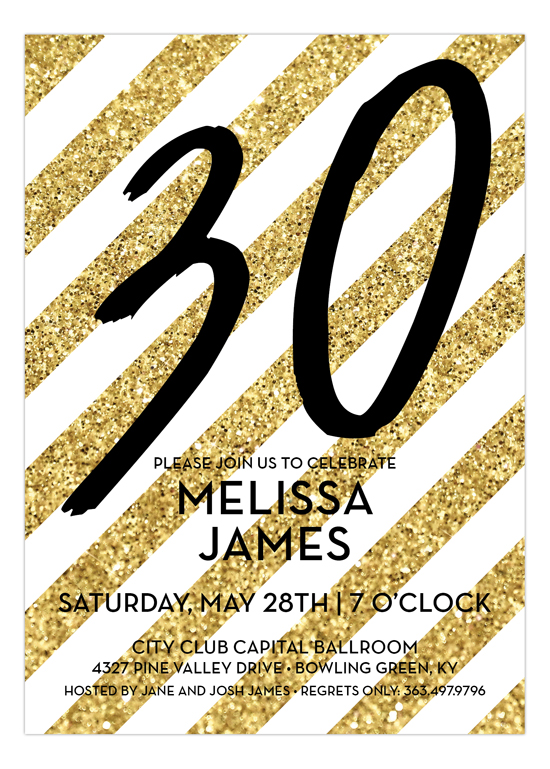 Gold Glitter Stripes Birthday Invitation