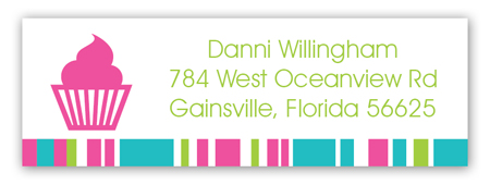 Bright Pink Cupcake Address Label
