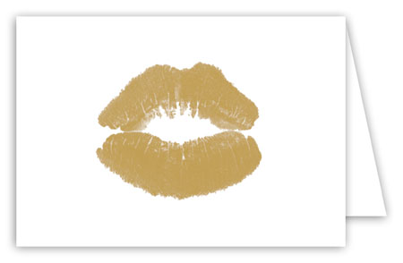 Golden Lips Folded Note Card
