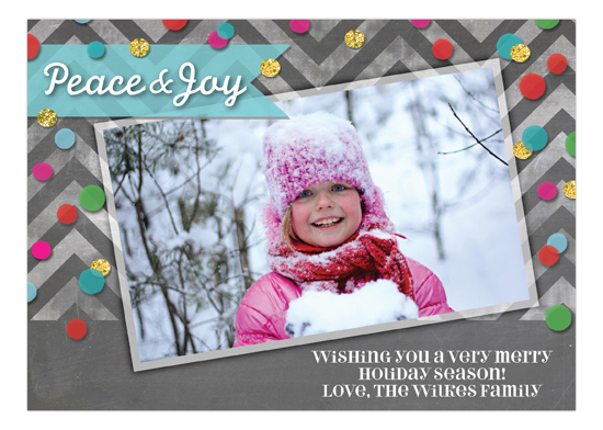 Peace And Joy Confetti Photo Card