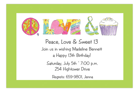 Peace Love and Cupcake Invitation