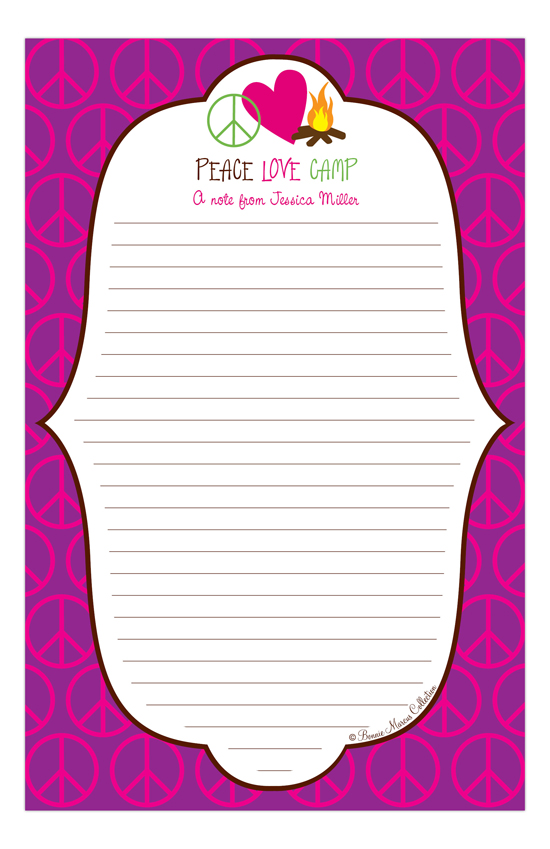 Peace Love Camp Notepad