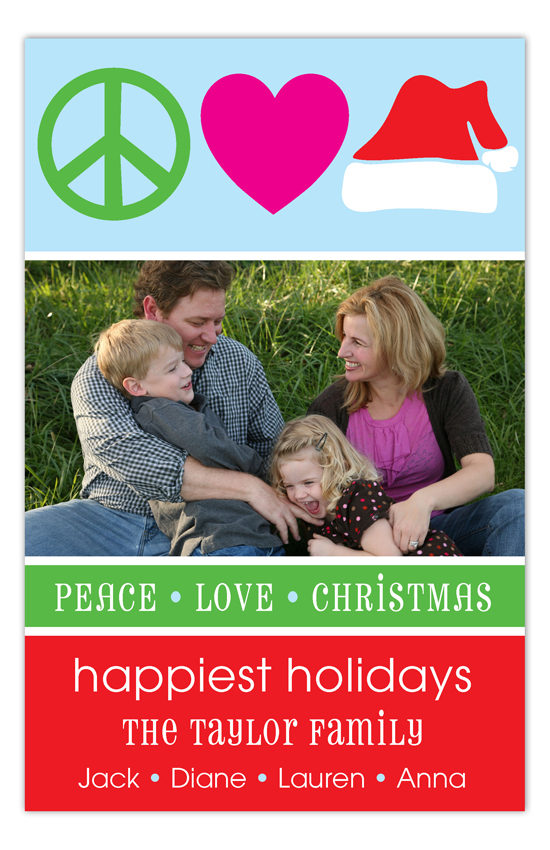 Peace Love & Christmas Photo Card