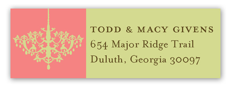 Peach Chandelier Address Label