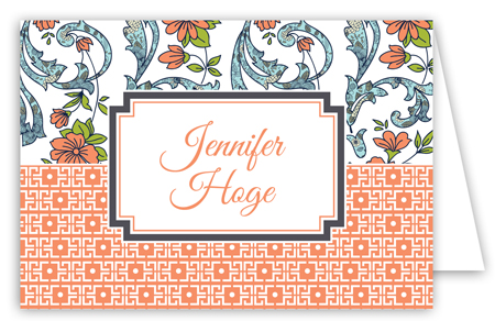 Peach Floral Duo Folded Note Card