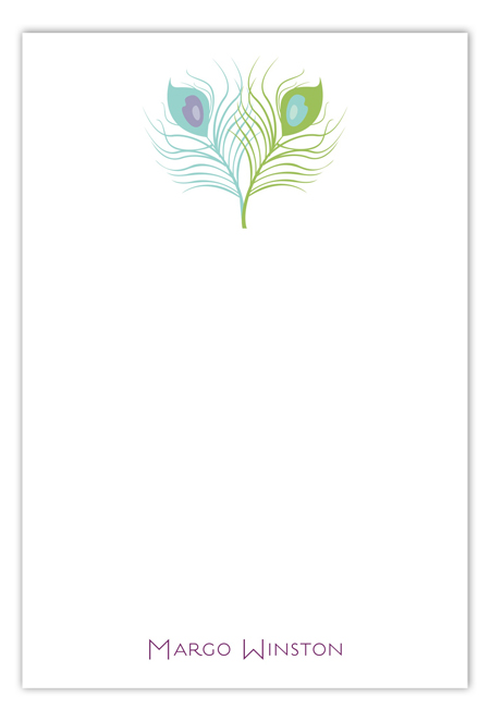 Peacock Feather Flat Note Card