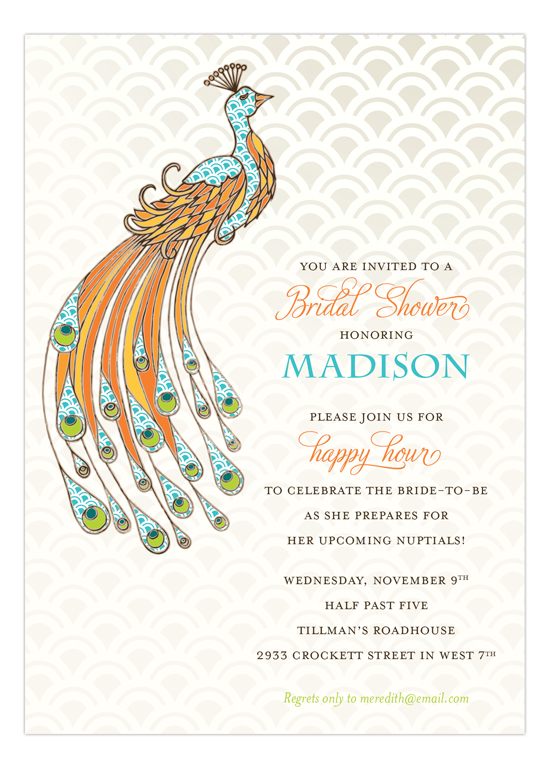 pretty peacock bridal shower invites