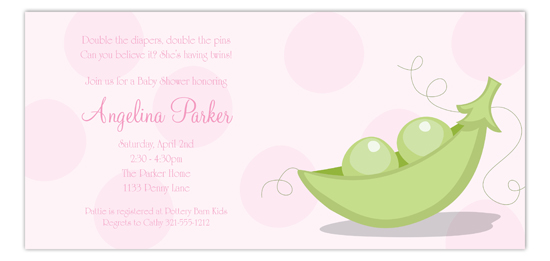 Peas In A Pod Pink Invitation