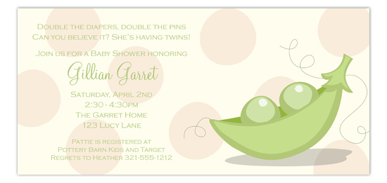 Peas In A Pod Taupe Invitation