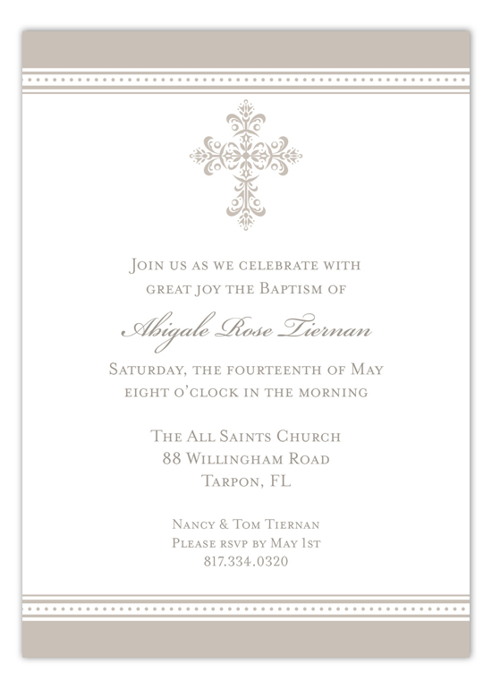 Pewter Cross Iron Scroll Invitation