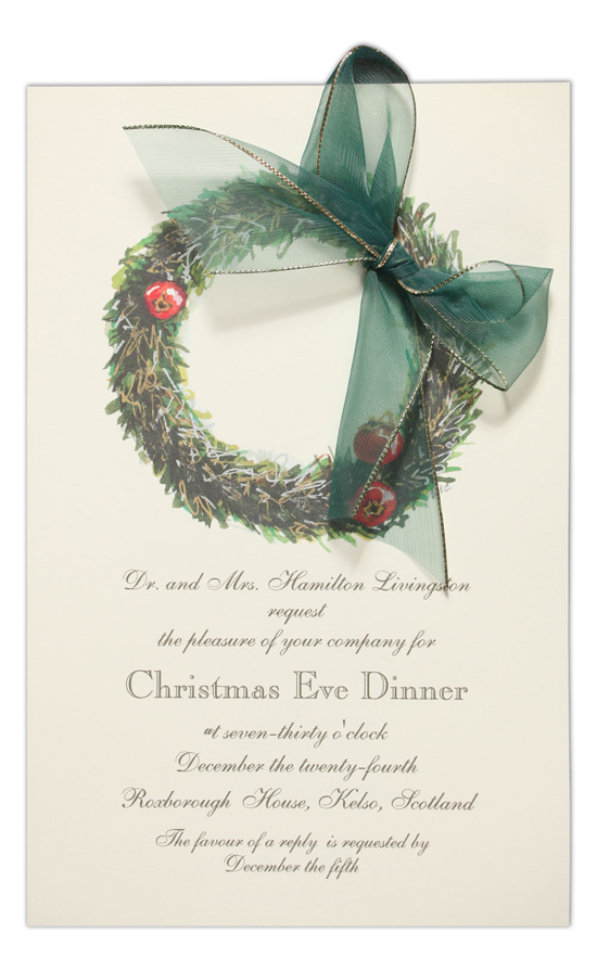 Pewter Wreath Invitation