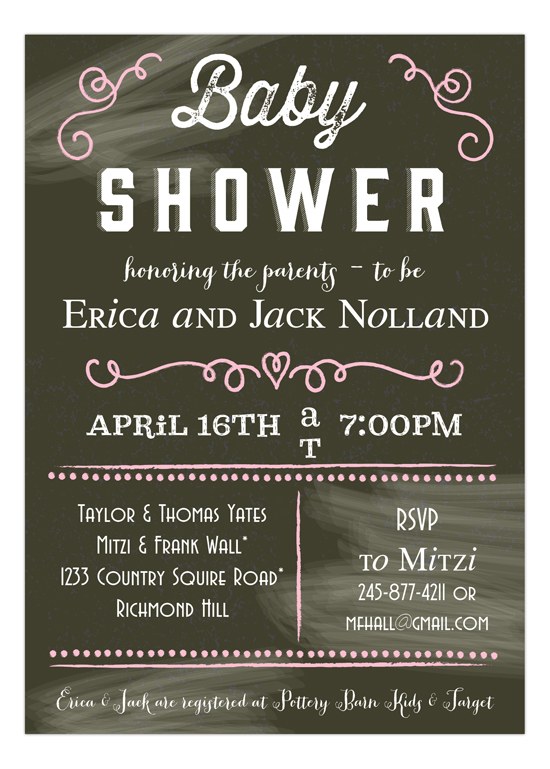 Chalkboard Baby Shower Pink Sign Invitation