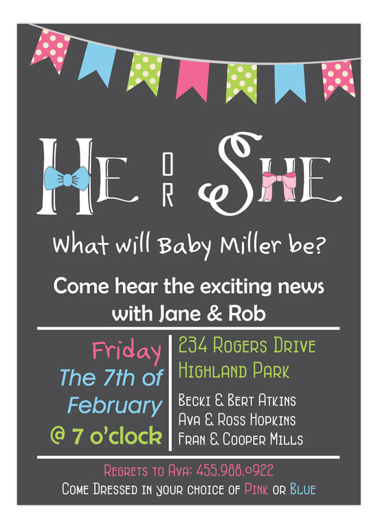 Chalkboard Bow Tie or Bow Baby Shower Invitation