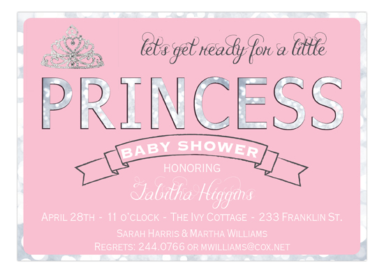 Shimmer Princess Baby Shower Invitation