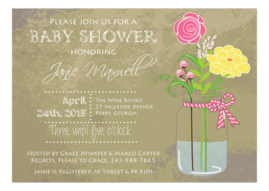 Pink Baby Shower Mason Jar Bouquet Invitation