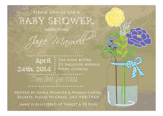 Blue Baby Shower Mason Jar Bouquet Invitation