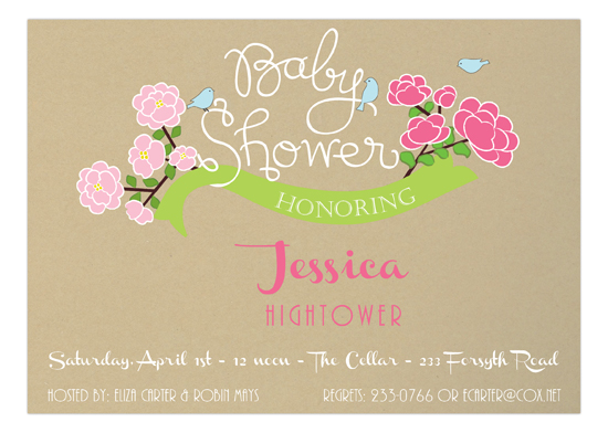 Baby Girl Banner Baby Shower Invitation