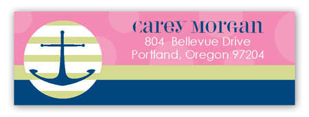 Pink Anchors Away Address Label