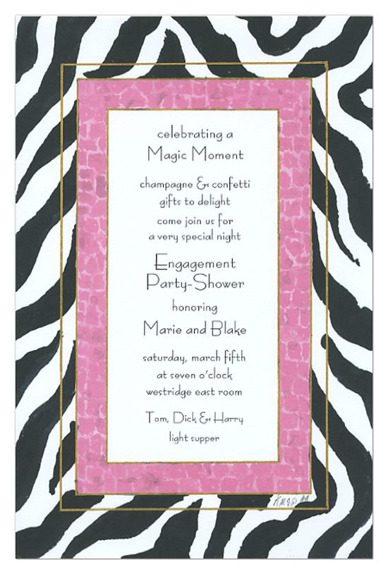 Pink and Black Zebra Invitation
