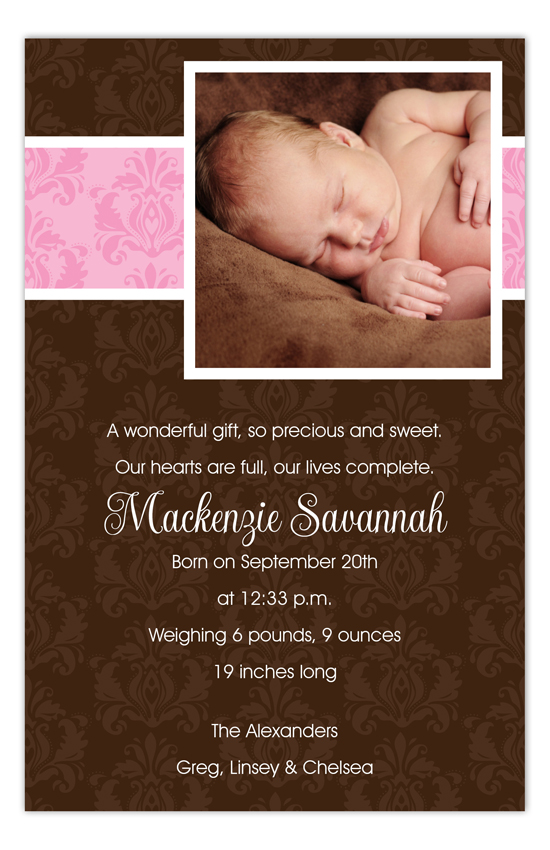 Pink and Brown Damask Photo Card